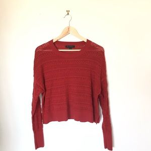 Banana Republic open knit rust red autumn sweater